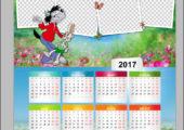 Рамка календарь 2017 с волком и зайцем