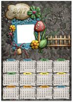 Календарь-рамка 2017 с темным фоном