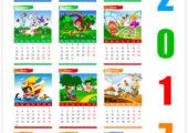 Календарь 2017 в векторе с прикольными картинками
