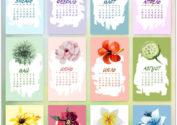 Календарь 2017 с нарисованными акварелью цветами