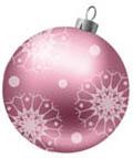 Розовая игрушка с красивыми, необычными снежинками