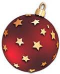 Игрушка красного цвета с золотыми большими звездами