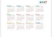 Календарь на итальянском языке для ворда на 2017 год
