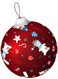 Красная игрушка со снеговиками и звездочками