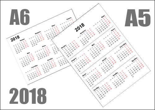 Календарь на 2018 год маленький формат: распечатать А5 и А6