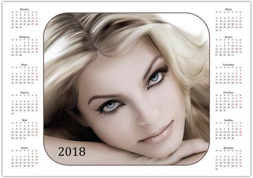 Календарь 2018 с девушкой