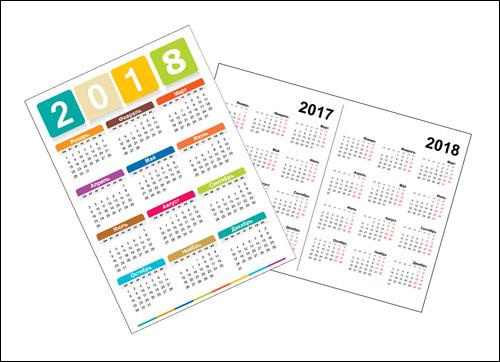 Календарь 2017 2018: сетка в PDF