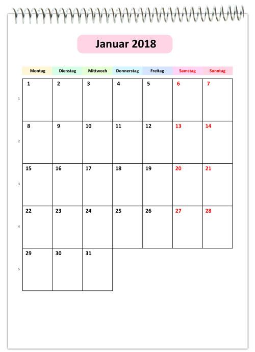 Календарь 2018 на немецком: каждый месяц на отдельном листе