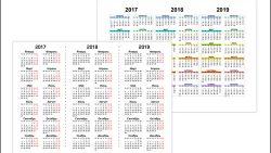 Календарь 2017, 2018, 2019 на одной странице