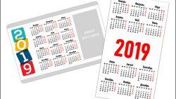 Календарные сетки 2019 для визиток