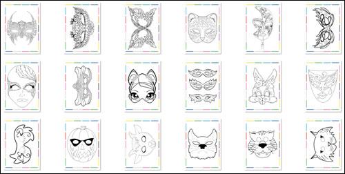 Раскраски маски формата А4