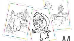 Раскраски Маша и Медведь А4 формата
