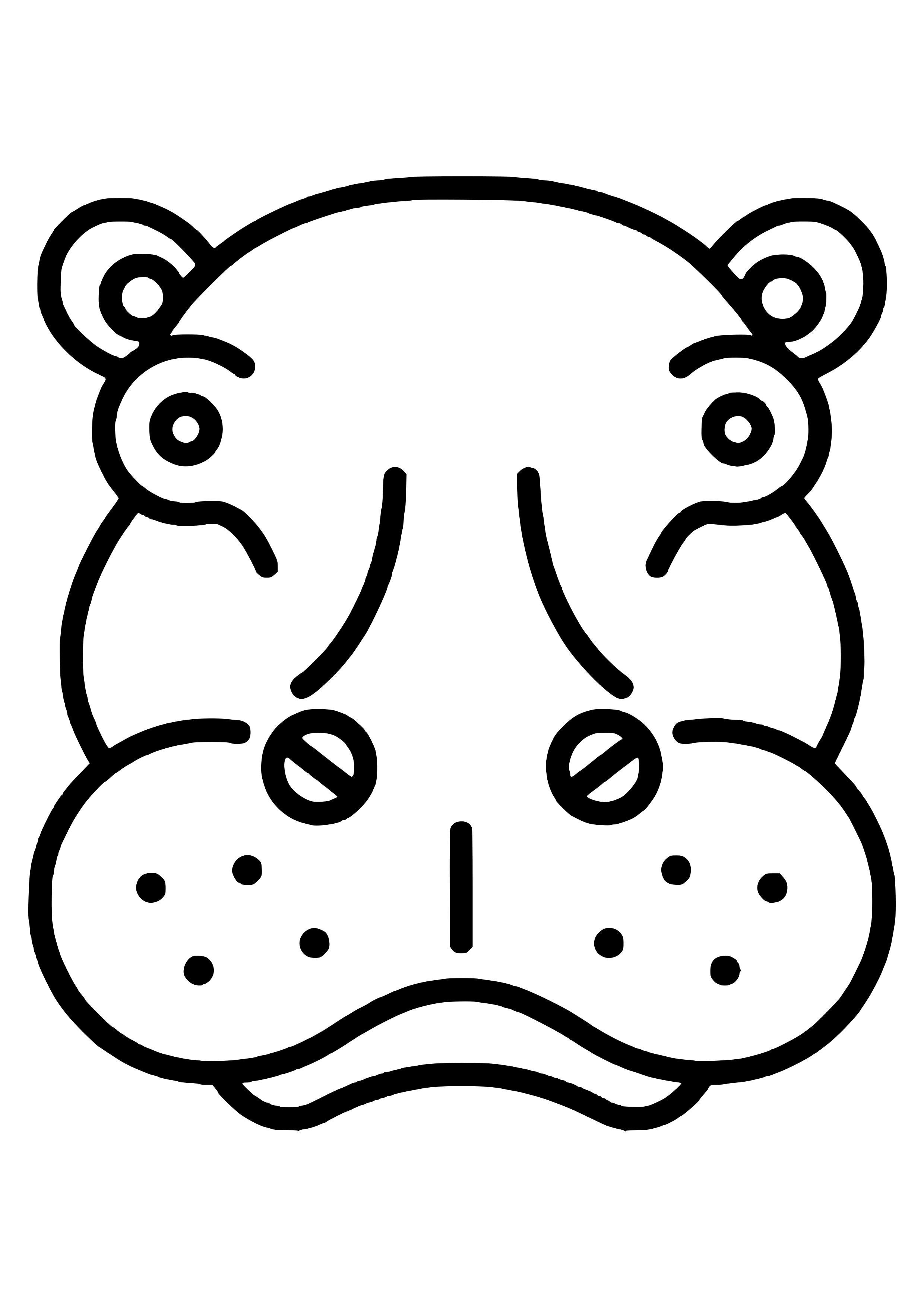 hippo face template - HD1240×1754