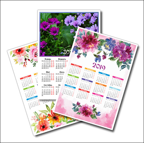 Календарь 2019 с цветами