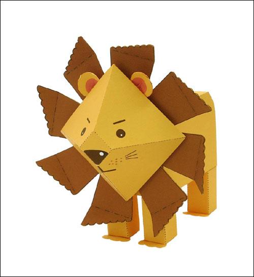Львенок из бумаги: скачать, распечатать и склеить