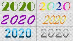 Надписи 2020 разными шрифтами и стилями