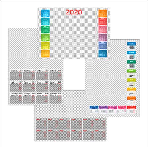 Календарная сетка 2020 для Фотошопа: скачать PSD