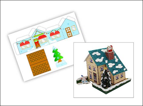 Шаблон новогоднего домика для вырезания: скачать и распечатать