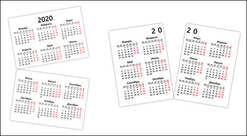 Календарь 2020 на двух листах А4