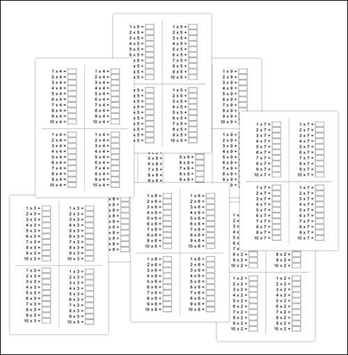 Таблица умножения на 2, 3, 4, 5, 6, 7, 8, 9 без ответов: скачать и распечатать