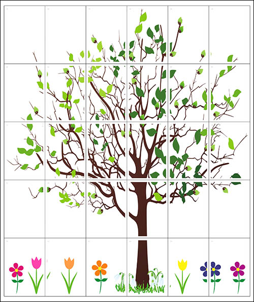 Весеннее дерево: скачать, распечатать, и повесить на стену